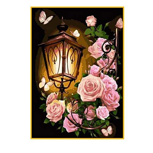 5D Diamant Painting Gemälde Rose zum Selbermachen Malen nach Zahlen Erwachsene Strassstein Stickerei Kreuzstich Leinwand Diamond Painting Full Bilder Painting by Numbers Wanddekoration 40 x 50 cm
