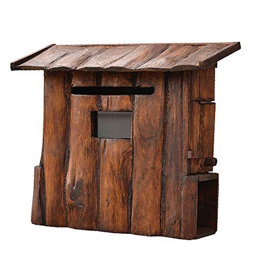 Holzbriefkasten im Freien Villa Wandbriefkasten Regenfester Vorschlagskasten Sicherer Briefkasten Zeitungsaufbewahrungskasten für Hausgarten-Firmendekoration. ( Size : 38x35x17cm/14.9*13.8*6.7in )