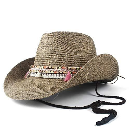 SSHZJUS Hollow Occidental del Sombrero de Vaquero con Flecos Playa Sombrero de Paja de Mujeres del Verano Forman Hombre de Paja Panamá Caballero Cap (Color : Café, Size : 56-58)