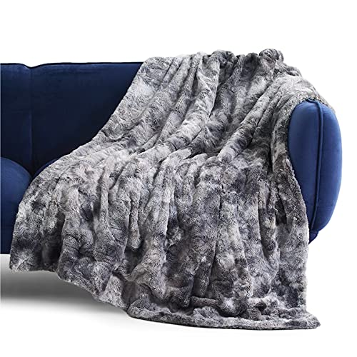 Bedsure Faux Fur Throw Blanket for Couch - Dark Grey Fuzzy...