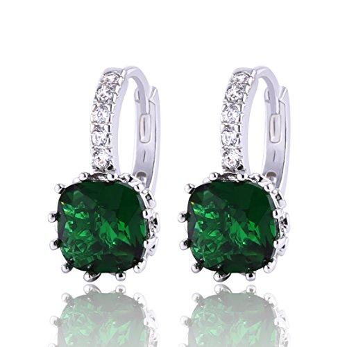 GULICX Jewellery Lady Bling 925 Sterling Silver Green Studs Emerald Color Huggie Hoop Earrings Cubic Zirconia