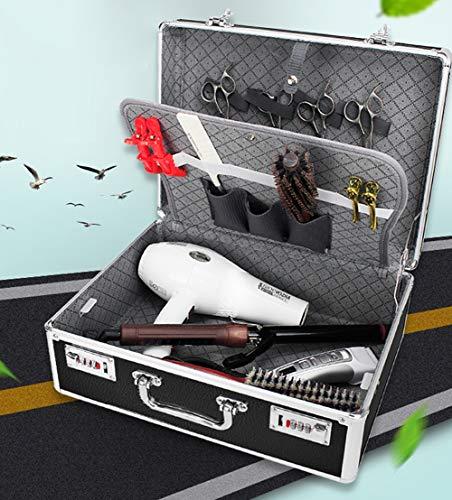 Coiffeur Portable Sac De Voyage Avec Verrou Mot De Passe Couverture En Aluminium Dur Pour Barber Spécial De Stockage Alliage Multi-Fonction Box,Noir