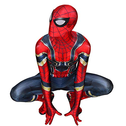 SJJYP The Avengers Iron Spiderman Stretch Bodysuit,Halloween Adult Child Cosplay Costume,Super Hero Spandex Suit Parent-child Luxury Clothing,Red-150