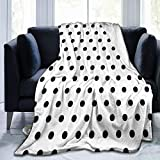 Fleece Plush Throw Blanket Comforter Classic Black White Polka Dot Faux Fur Soft Cozy Warm Fluffy Lightweight Microfiber Fuzzy Blanket for Bed Couch Sofa Chair Fall Nap Travel Camp Picnic Clearance