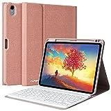 AMZCASE Funda con Teclado para iPad Air 10.9' 2020 (4.a generación), Cubierta con Portalápices con Teclado Desmontable Magnética Bluetooth Español(Incluye Ñ) para iPad 10.9 Pulgadas (Champán)