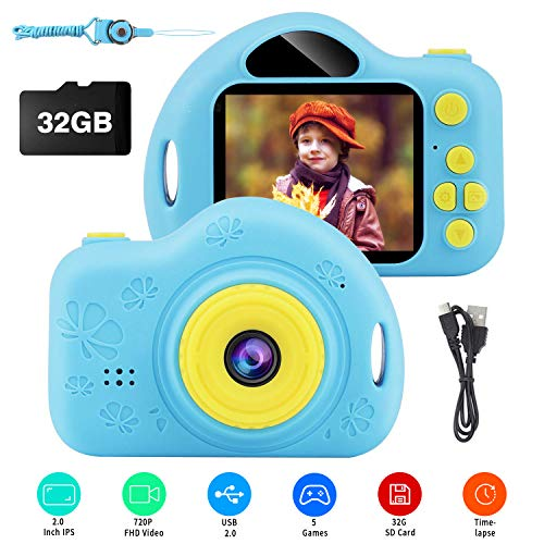 Kids Camera, Digital Video Camera Children Creative DIY Camcorder with Rechargeable Battery Birthday / Christmas / New Year Toy Gifts for 4 5 6 7 8 9 10 Year Old Girls with 32GB SD Card (Blue)