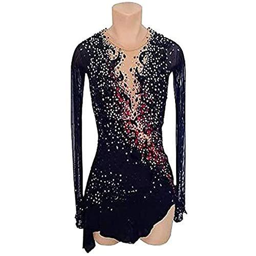 Nero Personalizza Il Vestito da Pattinaggio Figura Strass Abbigliamento Pattinaggio Donna Costume Prestazione per Pattinaggio Competizione Professionale Fatto A Mano