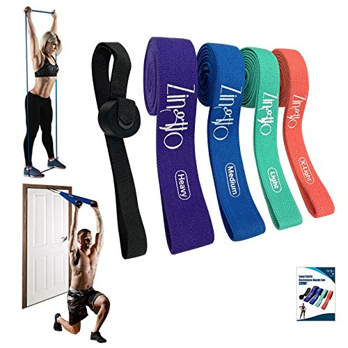 ZINGTTO Fabric Long Resistance Bands Set of 4, Pull Up Assistance Bands, Cloth Strength Bands for Women and Men. Hip Loop Exercise Bands for Working Out, Leg and Full Body Training with Door Anchor.