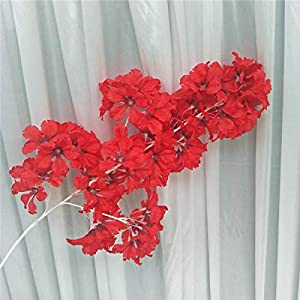 Artificial Flowers Silk Hydrangea White Branch Drifting Snow Gypsophila Artificial Flowers Cherry Blossoms Wedding Arch Decorate Fake Flower red-85cm