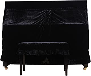 Full Piano Cover Plus Stool Chair Bench Cover Set Pleuche Fabric Decorated with Macrame for Universal Upright Vertical Pia...