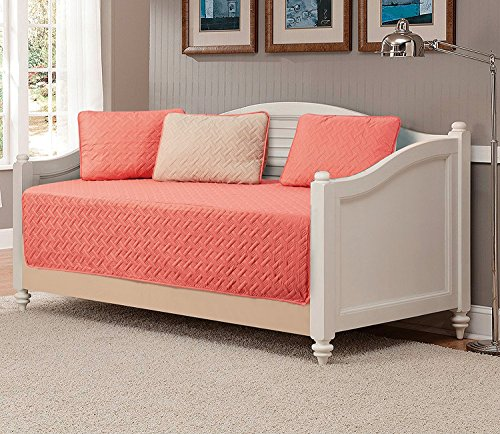 Linen Plus 5pc Daybed Cover Solid Embossed Bedspread New (Coral/Khaki Beige)
