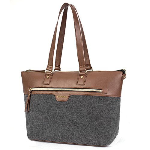 FOSTAK Damen Umhängetasche Business Tote Bag Handtasche stilvoll Shopper tragbar Schultertasche / 15.6 Inch Laptop Tasche für 15-15,6 Zoll Notebook/MacBook, Canvas Dunkel Grau
