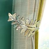 Large Vintage Leaf Design Curtain Holdbacks,U Shape Metal Curtain Tieback Drape Holder Curtain Drapery Holdbacks Tie Back Hook for Bedroom, Living Room - 1 Pair (Silver)