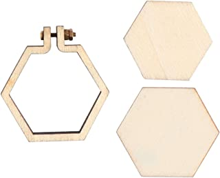 Healifty Mini Wooden Rings Embroidery Hoops Hexagon Cross Stitch Hoop Ring Wooden Display Frame for DIY Craft Embroidery Size S