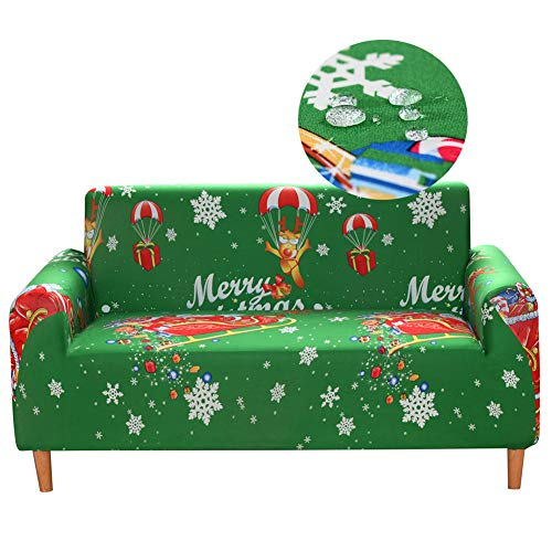Fundas elásticas para sofá, fundas impermeables para sala de estar, fundas de sofá de 1 pieza, con estampado de licra para sofá, sillón, protector de muebles antideslizante (funda de cojín, Navidad)