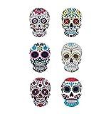 G&S TETES de Mort Mexicaine Magnets CERAMIQUE Neuf Lot de 6 Neufs décoration Porte FRIGO 8x6cm