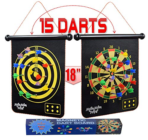 """NomNom Toys Magnetic Dart Board for Kids - 18"""" Double-Sided Roll-up with 15pcs Darts Set, Safe Game for Indoor and Outdoor, Perfect Toy Gift for Boys and Girls Age 7 8 9 10 11 12 13 Years Old"""