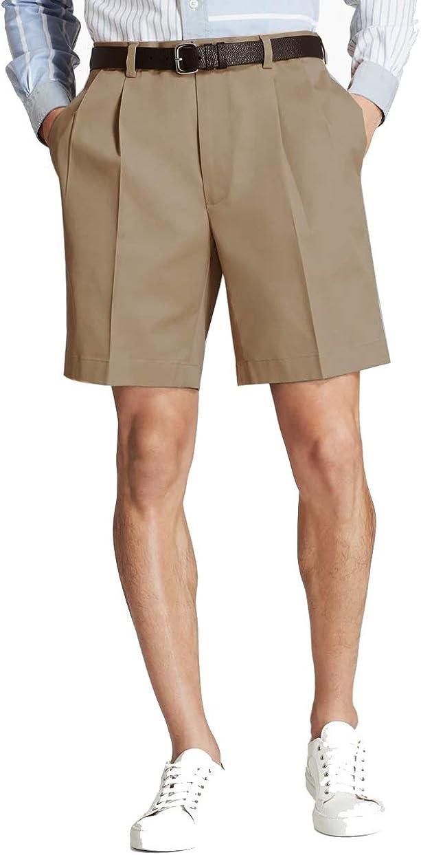 Brooks Brothers Men's 52712 Pleat-Front Lightweight Advantage Shorts, Dark Khaki