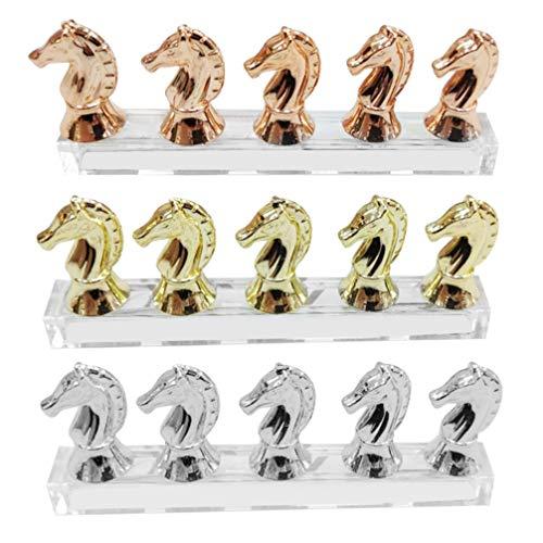Beaupretty 3 Stks Nail Art Praktijk Staat Paardenhoofd Acryl Nep Vingernagel Tips Display Houders Rack Tonen Tool Voor Salon Winkel Thuis (Gouden Zilver Rose Goud)