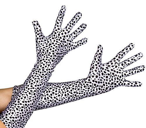 I LOVE FANCY DRESS LTD Une Paire de Longs Gants tachetés en Noirs et Blancs pour Adulte. Ideal pour Devenir la Femme cruelle du célèbre Dessin animée.
