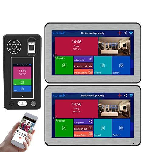 QXue 10 Pulgadas Monitor Wireless WiFi Videoportero Intercomunicador,con 1080P Cámara Admite 500 Huellas Dactilares 500 Desbloqueo de Reconocimiento Facial (2-Monitors 1-Cámara)