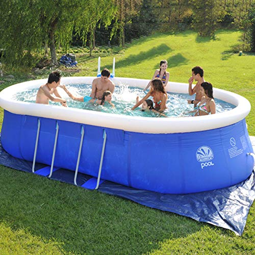 ZHKGANG Runder Swimmingpool Nach Hause Erwachsene Kinder Dicke Große Ovale Planschbecken Wasserpark Kinder Familie Aufblasbaren Pool,Blue-310 * 200 * 80cm