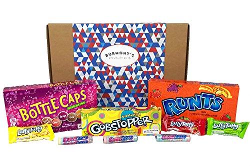 Caja De Regalo Con Una Selección De Caramelos Americanos Wonka - 9 Paquetes - Runts, Gobstoppers, Bottle Caps, Laffy Taffy & Sweetarts - Cesta Exclusiva Para Burmont's