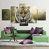 Wieoc 5 Pinturas consecutivas HD Wall Art Canvas Poster Kids Room Caligrafía 5 Set Animal Tiger Estilo de Moda Decoración del hogar Imagen Modular Impresiones Pintura