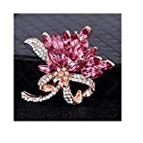 Guolipin Voller Diamanten Brosche mit transparenter Perle handgemachtes Silber überzogene Frauen Mädchen Hochzeit Brautstrauß (Color : Pink, Size : Free Size)