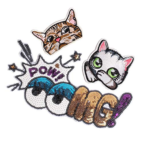 Iron on Patches/Sewing Patch,Patches for Clothes,Embroidery Applique, Large Sequined Eyes Letter 3pcs