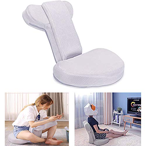 Floor Gaming Chair Gray Six Adjustable Backrest Skin-friendly Breathable Lazy Chair Foldable & Washable Pad High Resilience Sponge Cushion TV Floor Chair for Teenage/Adult,Yoga,Watching,Reading