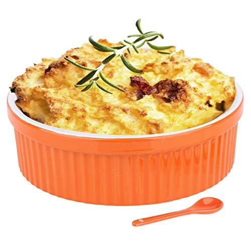 Souffle Dish Ramekins for Baking – 64 Oz, 2 Quart Large Ceramic Oven Safe Round Fluted Bowl with Mini Condiment Spoon for Soufflé Pot Pie Casserole Pasta Roasted Vegetables Baked Desserts (Orange Set)