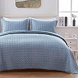 Sunstyle Home Quilt Set Lightweight King Bedspread Coverlet Set Blue Grey Square Pattern