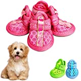 SUNFURA Dog Shoes Pet Boots, Breathable Soft Mesh Dog Sandals with Rugged Anti-Slip Sole, Adjustable Paw Protector Self-Adhesive Sticker for Summer(Pink,XS)