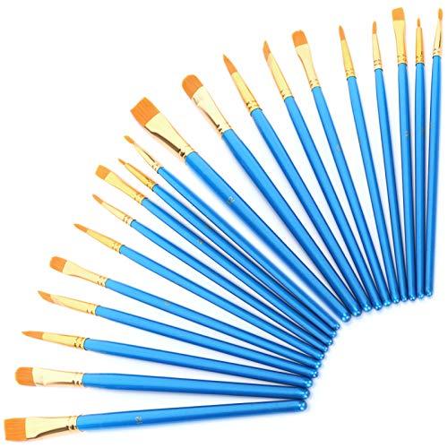Juego de 20 pinceles para acuarela acrílica, soporte para bolígrafos, pinceles de acuarela, juego de pinceles