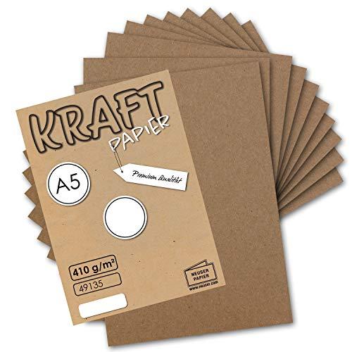 25x Vintage Kraftpapier DIN A5 410 g/m² Natur-braunes Recycling-Papier Bastel-Karton Künstler-Karton Künstler-Pappe I Umwelt by Gustav NEUSER®
