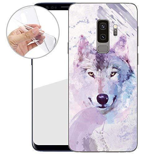 Finoo TPU Handyhülle für Dein Samsung Galaxy S9 Plus Made In Germany Hülle mit Motiv für Optimalen Schutz Silikon Tasche Case Cover Schutzhülle für Dein Samsung Galaxy S9 Plus-Wolf gemalt