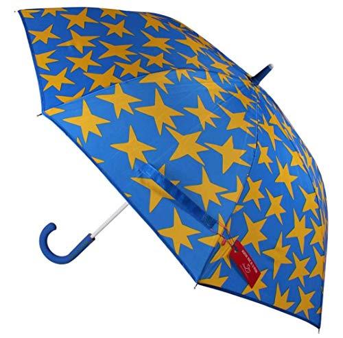 Paraguas Resistente al Viento Sistema de Apertura automática Grande Color Azul con Estrellas Amarillas Agatha Ruiz de la Prada