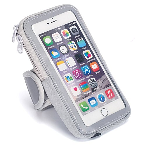 Leegem Adult Unisex Specialized Cell Phone Smartphone iPhone 8 7S 6S Plus Armband Arm Bag for Cycling Mountaineering Rock Climbing Hiking Running Jogging Camping Motorcycling Fishing (Gray, L)