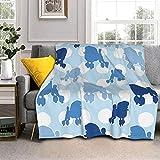 Manta de lana de cordero con lunares, color azul, de caniche azul, de piel de zorro, ultrasuave, para sofá, cama, hombres, mujeres y bebés