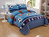 6-Piece Kids/Teens Sports Comforter Set - Soft Microfiber Navy Blue Black Orange Red White Basketball Football Soccer, Queen Size