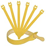 Reusable Cable Ties 1/2' x 8' for Cable Management and Organizing Cords - 30 Pack Bundled with 2 Bonus Cinch Straps (Yellow)