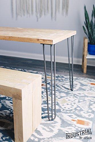 "Industrial By Design - 28"" Hairpin Table Legs - (Raw Steel) Elegant Mid Century Modern - Three Rod Design - Premium Heavy Duty Build - Easy DIY Installation - Set of 4"