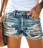 Onsoyours Pantalones Cortos de Mezclilla Rasgados Casuales para Mujer Elasticos Tiro Alto Shorts Jeans con Bolsillos C Azul XL