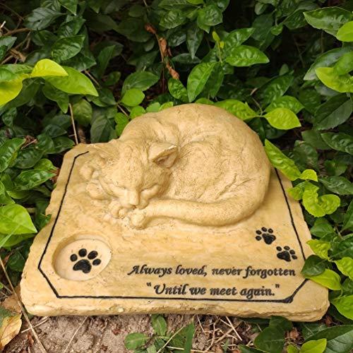【ペット墓石】ペット メモリアル グッズ 猫 墓石 ねこ お墓 飾り ペット 記念石 丈夫 防水樹脂製 職人手作り 猫の像 墓標 供養 位牌 猫 置物 - 実用的な円形の溝デザイン 心を癒してくれる立体型ペット墓石