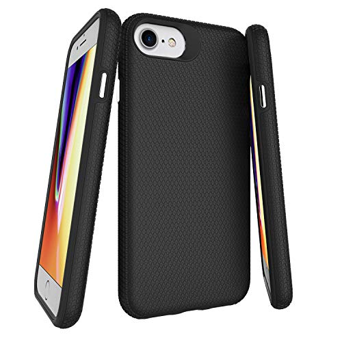 Molzar Shield Series iPhone SE2 2020/8/7/6s/6 Case with Soft TPU + Hard Plastic Back, Triangle Texture Grip, Built-in Metal Plate for Magnetic Phone Holder, Compatible with iPhone SE2/8/7/6s/6, Black