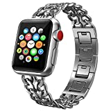 PUGO TOP Armband Replacement for Apple Watch 38mm 40mm 42mm 44mm, Solides Edelstahl Cowboy Art...