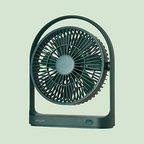 JISULIFE Ventilatore Tavolo, Mini Ventilatore da Scrivania, 4000mAh USB Ricaricabile Ventilatore da Tavolo [5-15 ore di Lavoro] Ventilatore Batteria Con un Design Unico per Casa, Ufficio-Verde Scuro