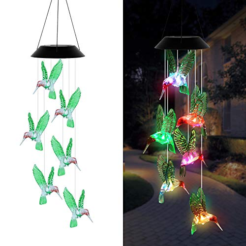 EEEKit Solar Hummingbird Wind Chime Color Changing, Waterproof Solar Powered Mobile LED Hanging Windchime Light for Outdoor Indoor Home Garden Patio Yard Pathway Decoration