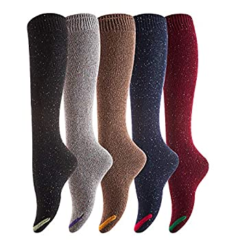 Lovely Annie Women s 5 Pairs Pack Knee High Cotton Socks Size 23-25cm  5 Color